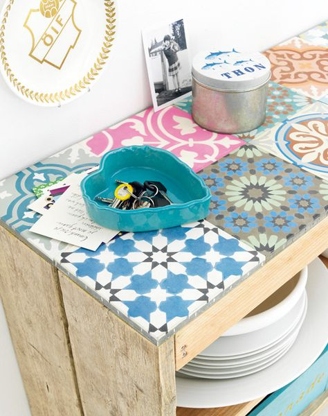patchwork tiles as table top