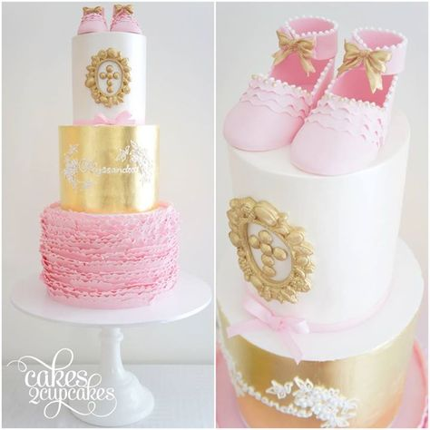 Gold Frills & Pink Baby Shoes Cake