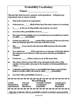 Probability Terms Worksheet with Word Bank | Words ...
