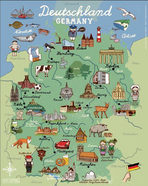 Deutshland Germany Pays Allemagne Carte Illustree