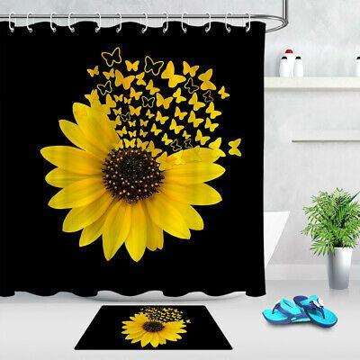 Sunflower Butterfly Shower Curtain Home Bath Bathtub Curtains
