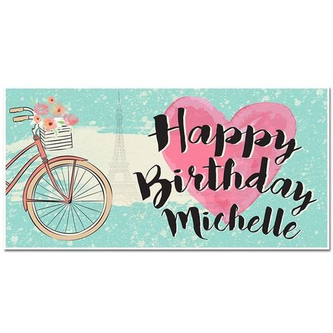 Paris Happy Birthday Personalized Banner Party Decoration