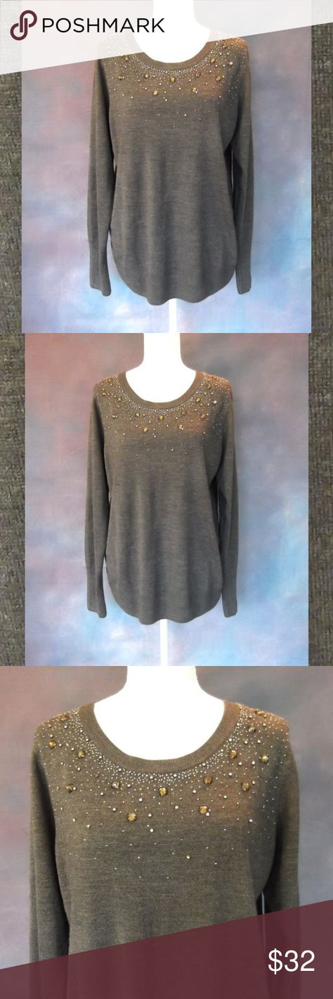 """Roz & Ali Gray Sweater Crystal Embellishment XL New without tags, never worn! Warm, soft grey sweater with sparkly crystal embellishments! Perfect for the holidays or any time you want to dress up an outfit!  Brand & Size - Roz & Ali Size XL Material - 100% Acrylic Chest measures 21"""" from pit to pit laying flat Length measures 27.5"""" from shoulder to hem Color- Grey  Buy with confidence... ✔Top Rated Seller ✔Fast Shipping ✔Always Wrapped & Packed with Care ✔ Smoke Free, Pet Friendly Home ✔ Have q"""