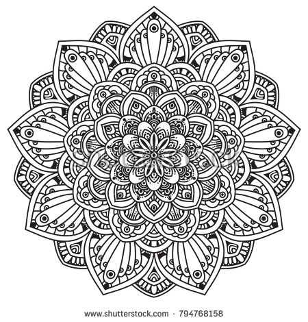 Black And White Mandala Vector Isolated On White Vector Hand Drawn Circular Decorative Element Mandala Coloring Pages Mandala Design Art Mandala Vector