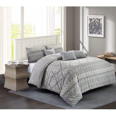 Wonder Home Jaipur 6pc Cotton Print Comforter Set Queen Grey Walmart Com Comforter Sets Queen Comforter Sets Print Comforter