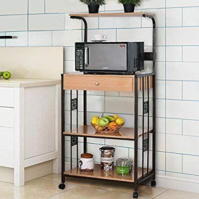 Waterjoy Bakers Rack Microwave Cart Supreme 3 Tier Rolling