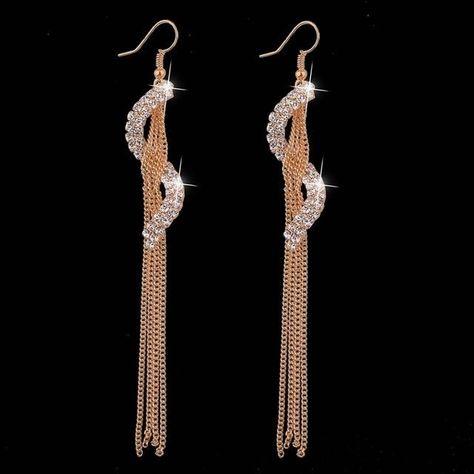 S-Shape Long Tassel Drop Earrings