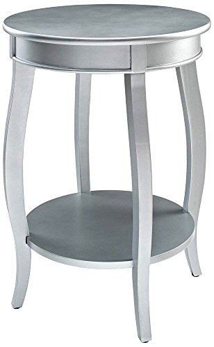 Round Chairside Table Side End Home Office Wood Silver Finish Showcase Display With Lower Open Storage Shelf Chair Side Table Showcase Display Display Storage