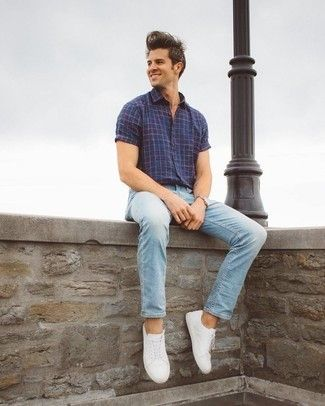 How To Wear A Short Sleeve Shirt 303 Looks Men S Fashion Light Blue Jeans Outfit Jeans Outfit Men Blue Jeans Outfit Men