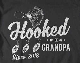 Download Personalized Grandpa Shirt Hooked On Being Grandpa T Shirt Fishing Fisherman Est T Shirts Papa Names Grandpa Shirt Dad To Be Shirts Father Day Shirt