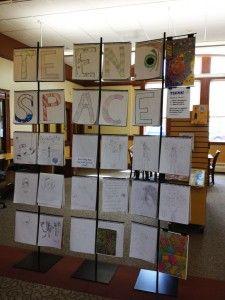 Teen Art Wall in library