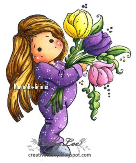 #3077 Tilda with big tulips