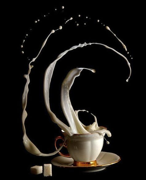 Coffee Time is a photography series by Egor N. which defies time and space. Each high speed shot reveals a different side of the the caffeinated drink as milk is captured suspended in air, swirling around its cup, and dancing with sugar.