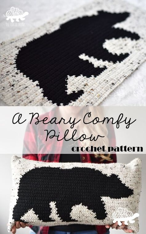 A Beary Comfy Pillow – Bear Pillow Crochet Pattern Cute bear pillow crochet pattern! Using intarsia crochet you can make your very own bear pillow! Perfect for any room, home, or cabin! Crochet Bear, Hand Crochet, Baby Blanket Crochet, Free Crochet, Crochet Christmas Blanket, Quick Crochet Gifts, Beginner Crochet Blankets, Free Christmas Crochet Patterns, Crochet Pillow Cases