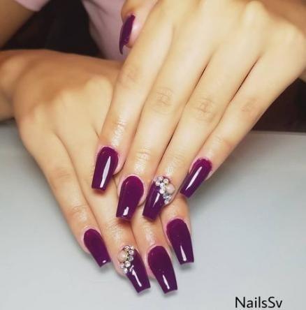 67 Ideas For Nails Coffin Dark Purple Purple Nails Shiny Nails Designs Dark Purple Nails