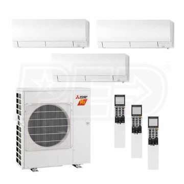 Mitsubishi M3l24w06090900 Wall Mounted 3 Zone H2i System 24 000 Btu Outdoor 6k 9k 9k Indoor 19 0 Seer Air Conditioning Installation Home Addition Indoor