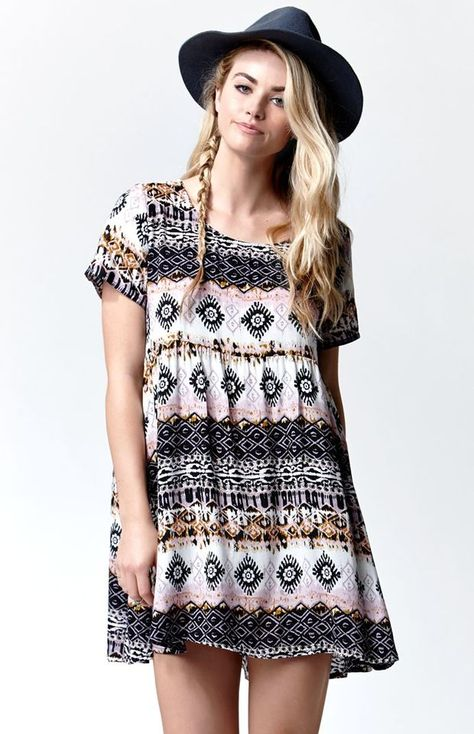 Glamorous Short Sleeve Babydoll Dress - Womens Dress - Multi