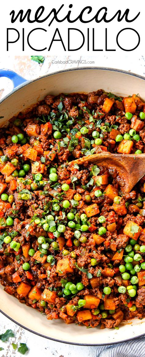 The BEST Picadillo AKA warm, satisfying, comforting, saucy Mexican Beef and Potatoes!  Made with pantry friendly ingredients in ONE POT for the ultimate easy, fabulous, no-fuss lazy weeknight dinner win!  #recipes, #dinner #picadillo #mexicanfoodrecipes #mexicanfood #recipesfordinner #mexicanrecipes #easyrecipe #easydinner #dinner #dinnerrecipes #dinnerideas #dinnertime #beef #beefrecipes via @carlsbadcraving