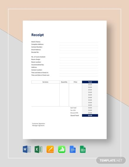 Hotel Receipt Template Free Pdf Word Excel Apple Pages Google Docs Google Sheets Apple Numbers Receipt Template Invoice Template Word Financial Apps