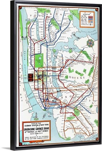 Framed New York Subway Map.New York Subway Map 1940 Project Ml Subway Map Nyc Subway