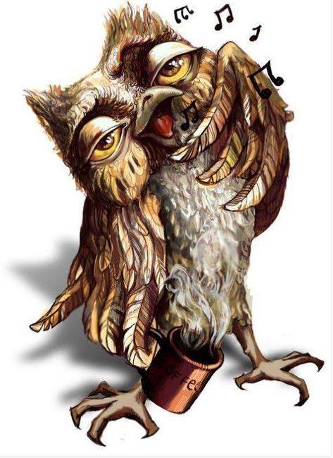Funny Owl illustration with coffee mug