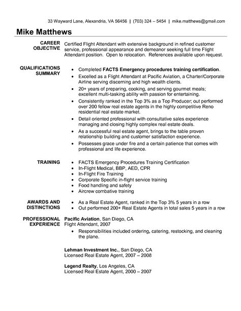 Pin by Kerry C on Applying for Jobs Pinterest - flight attendant sample resume
