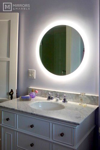 Side Lighted Led Bathroom Vanity Mirror 28 Wide X 28 Tall Round Wall Mounted In 2020 Mirror Vanity Mirrors Marble