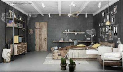 ألوان ديكورات غرف نوم مودرن حديثه عصريه باللون الرمادي الرصاصي Industrial Bedroom Design Contemporary Bedroom Design Brown Bedroom Decor