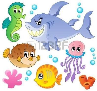 Resultado De Imagen Para Dibujos Animados De Peces Y Animales Marinos Peces De Mar Ilustracion De Peces Mar Animado