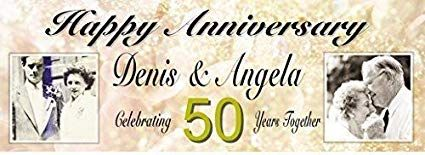Personalised Golden Wedding Anniversary Banner With Photos Pack