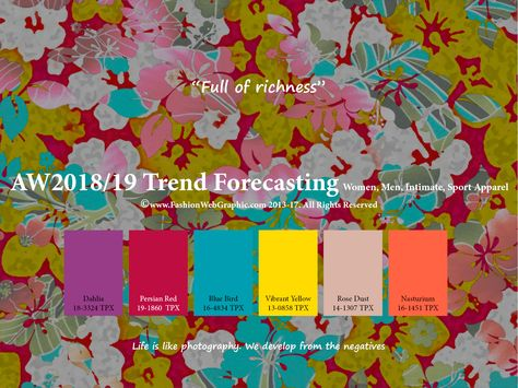 Autumn Winter trend forecasting is A TREND/COLOR Guide that offer seasonal inspiration & key color direction for Women/Men's Fashon, Sport & Intimate Apparel