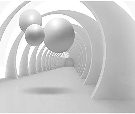 decomonkey Fototapete Abstrakt 350x256 cm XL Design Tapete Fototapeten Vlies Tapeten Wandtapete Vliestapete moderne Wandbild Wand Schlafzimmer Wohnzimmer 3d Effekt Architektur Kugeln wei/ß grau