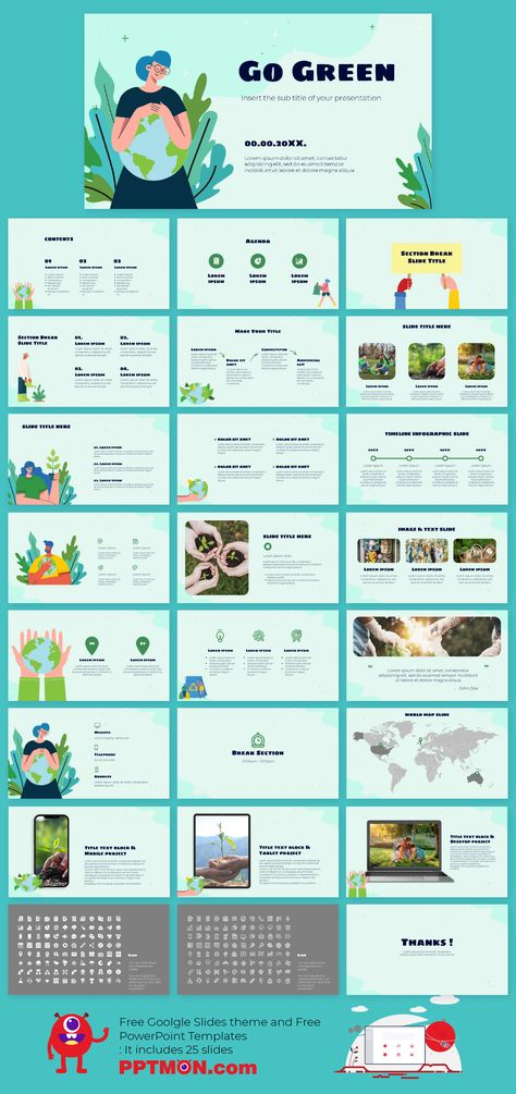 Go Green Presentation Design for Google Slides theme and PowerPoint Template