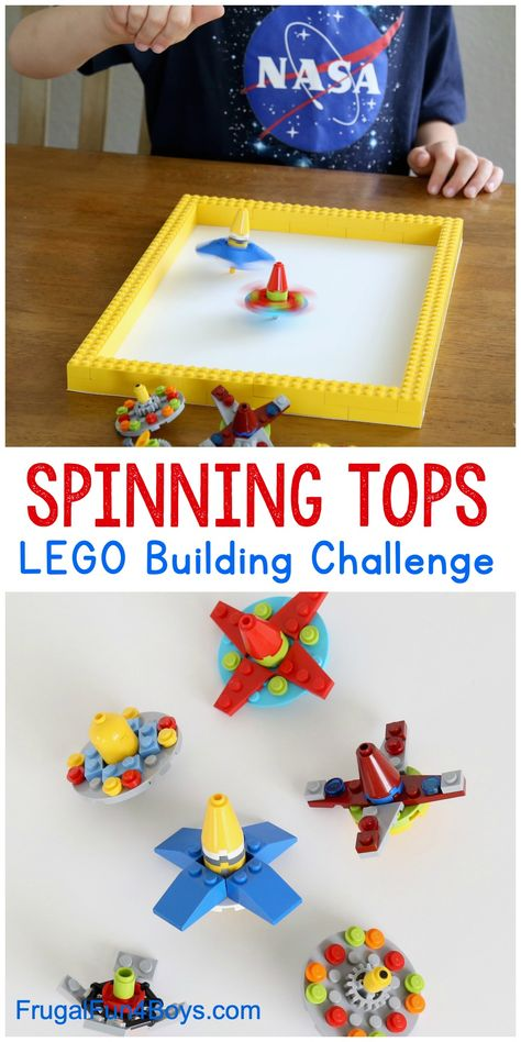 Spinning Tops LEGO Building Idea - Fun kids activity and STEM challenge all in one! Use LEGO bricks to build spinning tops that spin REALLY well. activities Spinning Tops LEGO Building Idea - Frugal Fun For Boys and Girls Diy Lego, Lego Craft, Kids Crafts, Projects For Kids, Diy Kid Crafts For Boys, Jar Crafts, Summer Crafts, Art Projects, Fun Activities For Kids