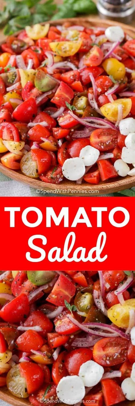 Fresh tomato salad is a summer staple! Juicy tomatoes are combined with a simple oil and vinegar dressing for the perfect salad! #spendwithpennies #salad #sidedish #tomatorecipe #tomatosalad #gardensalad #oilandvinegar #vinaigrettedressing