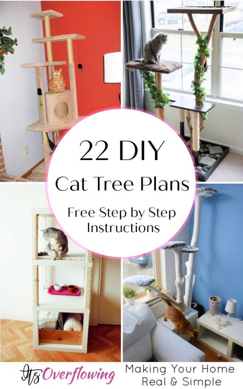 Learn how to build a cat tree for your feline freind at home! Our collection of these DIY cat tree plans is really fascinating at so many levels. Cat Tower Plans, Ikea Cat, Diy Cat Tower, Cat Tree House, Cat House Diy, Cat Condo, Cat Tree Condo, Cat Towers, Cat Playground