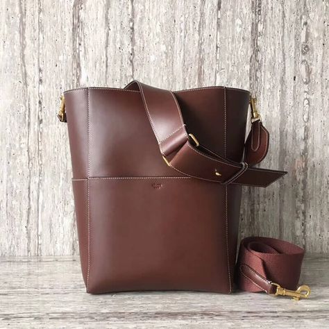 Celine Sangle Bucket Bag in Natural Calfskin Burgundy with White Stitching 2018