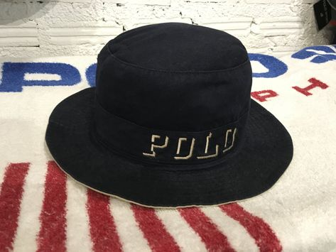 d8fc72c1616 Vintage Polo ralph lauren bucket hat spell out polo embroidered big logo  Excellent condition by AlivevintageShop on Etsy