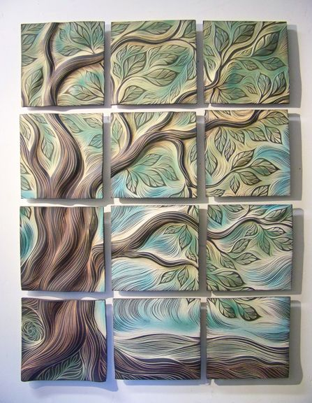 Sculptural Wall Tiles: Tree Of Life Design, Residential Installation    Spaces   Boston   Natalie Blake Part 86