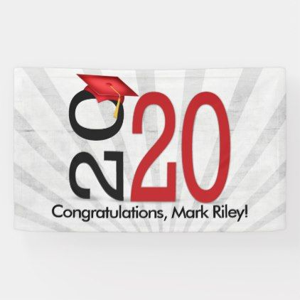 Red and Black Personalized Graduation Party Banner Congratulations Class of 2020 Party Banner