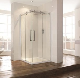 Aquaglass 900mm Corner Entry Shower Cubicle Sliding Doors 900mm Aquaglass Corner Cubicle Doors Entry In 2020 Shower Cubicles Contemporary Shower Modern Shower