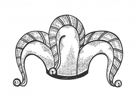 Jester Hat Sketch Engraving Vector Illustration Tee Shirt Apparel