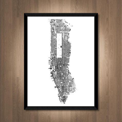 Manhattan Map Print New York Map Manhattan Print New York City