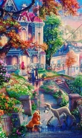 5d Diamond Painting Lady And The Tramp Home Scene Kit Disney Paintings Disney Background Kinkade Disney