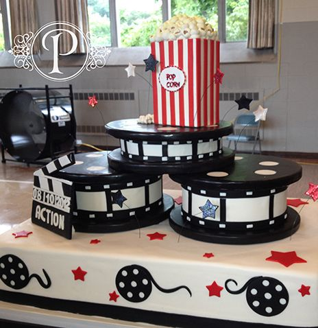 Custom Birthday Cake Night At The Movies Cake Film Reel Cake - Movie themed birthday cake