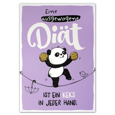"""Hope & Gloria Postkarte »Diät« """"Eine ausgewogene Diät ist ein Keks in jeder Hand."""""""