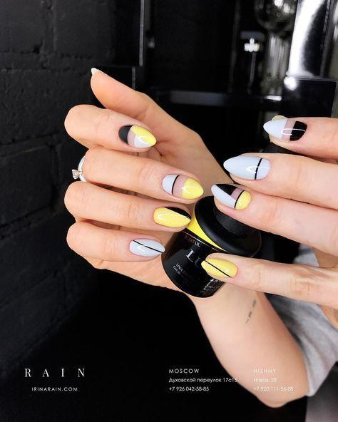 Baby Blue Yellow And Black Nail Art Yellow Nails Trendy Nails Nail Designs