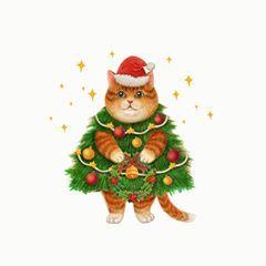 크리스마스 고양이에 있는 Tina Read님의 핀 크리스마스 카드 크리스마스 동물 디자인