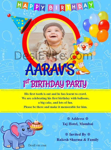 Birthday Invitation Card Joker & Elephant Theme
