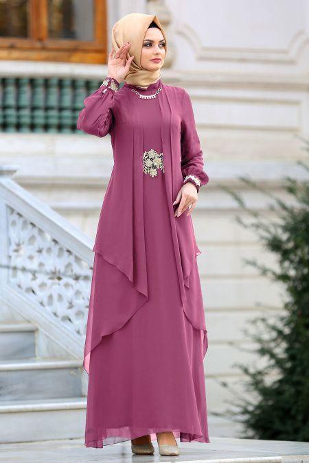 Nayla Collection Beli Dantel Detayli Gul Kurusu Tesettur Abiye Elbise 52546gk Tesetturisland Com Elbise Elbiseler Giyim